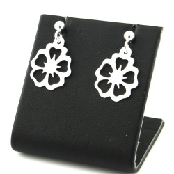 Silver earrings sticks flowers