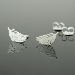 Earrings feathers sticks silver 925