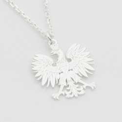 Eagle emblem bright silver chain with pendant