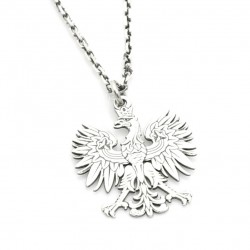 Eagle emblem - silver oxidized chain with pendant