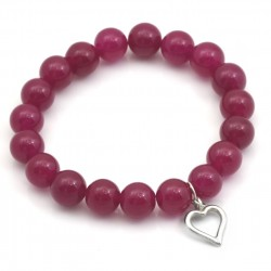 Jade bracelet with a heart of silver 925