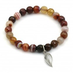 agate elastic bracelet with a leaf (925)