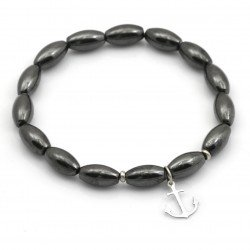 anchor bracelet with silver and hematite