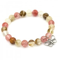 Flexible quartz bracelet with a butterfly