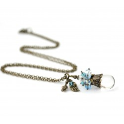 Long necklace with glass crystal drop