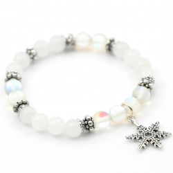 Bracelet with snowflake jade and quartz AB