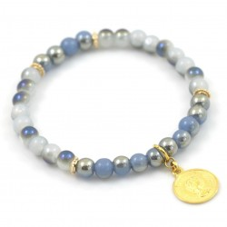 Bracelet with coin glass shine M