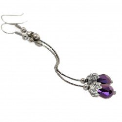 Violet crystal earrings, long, hanging