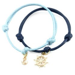 Anchor and steering wheel - a set of bracelets