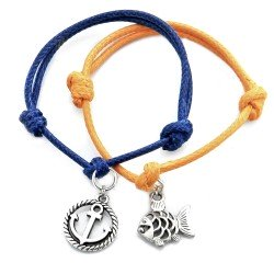 Anchor and fish - a set of bracelets