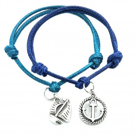 Anchor and  sail boat - a set of bracelets