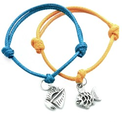 Sail boat and fish - a set of bracelets