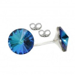 Earrings 8mm Silver and Swarovski Bermuda Blue