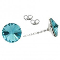Earrings 8mm Silver and Swarovski Light turqouise