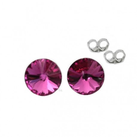 Silver earrings 5 mm Fuchsia - Swarovski