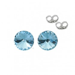 Silver earrings 5 mm Aquamarine - Swarovski