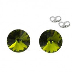Silver earrings 6 mm Olivine - Swarovski