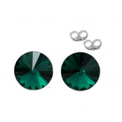 Silver earrings 6 mm Emerald - Swarovski