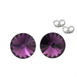 Silver earrings 6 mm Amethyst - Swarovski