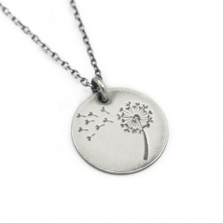 Silver chain with pendant dandelion 50 cm