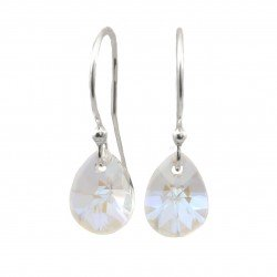 Earrings mini migdal Swarovski crystal blue AB sterling silver 925