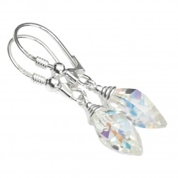 EarringsTwisted Drop Swarovski crystal AB sterling silver 925