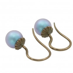 brass earrings with Swarovski pearls blue