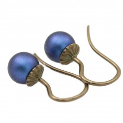 brass earrings with Swarovski pearls dark blue