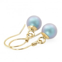 gold plated earrings 925 with Swarovski pearls blue