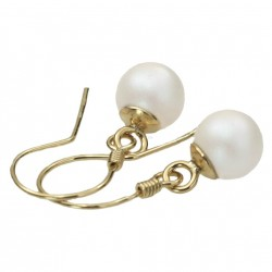gold plated earrings 925 with Swarovski pearls ecru