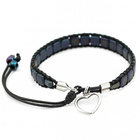Mosaic, silver and leather - bracelet