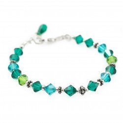 Swarovski crystal green bracelet and silver