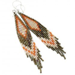 Indian earrings, silver and Toho