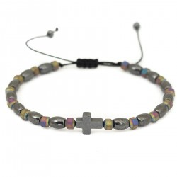 Hematite cross bracelet adjustable universal size