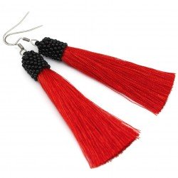 Earrings red tassel