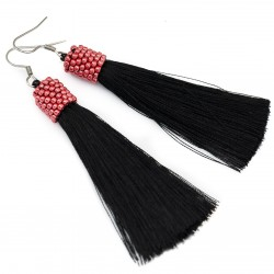 Earrings black tassel