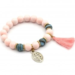 Apricot bracelet with tassel and rosette