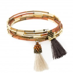 Bracelet with tassels wrapped