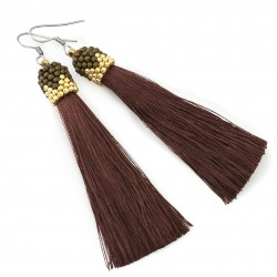 Earrings brown tassel