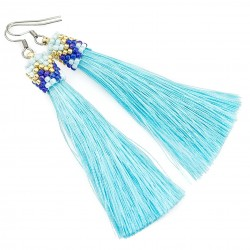 Earrings tassels light blue