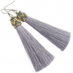 Earrings tassels gray