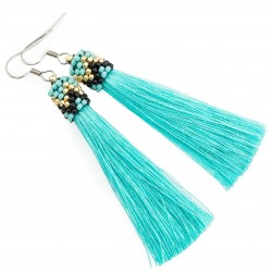 Earrings turquoise tassels