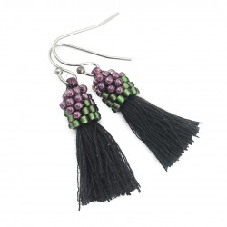Earrings small tassels black beads violet and green