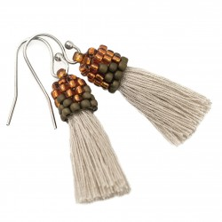 Earrings small beige tassels beads brown and orange