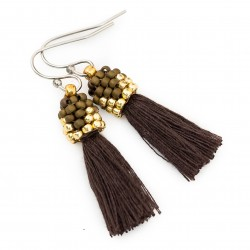 Earrings small brown tassel beads brown and gold