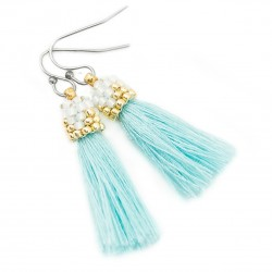Earrings small tassels mint white and gold beads