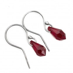 Silver earrings Swarovski drops deep red