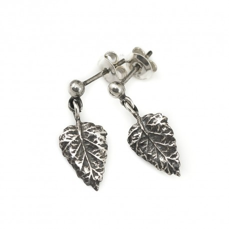 Silver earrings leaves