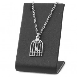 Silver necklace with a bird in a cage