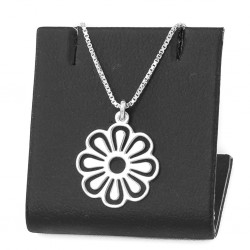 Silver chain with pendant flower 50 cm